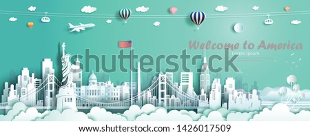 Travel landmarks United States of America famous monument architecture skyline, Tour landmark to golden gate bridge and statue of liberty with panorama, Traveling architecture sculpture world, Vector. #1426017509