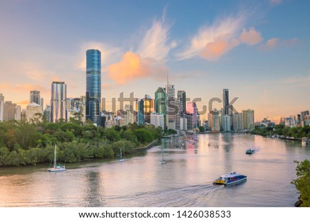 Brisbane city skyline and Brisbane river at twilight in Australia #1426038533