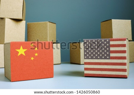 Trade war for balance between USA and China. Cardboard boxes. #1426050860