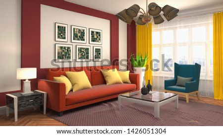 Interior of the living room. 3D illustration. #1426051304