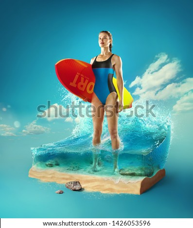 Travel and vacation background. 3d illustration with cut of the ground and the beautiful sea underwater. Female surfer standing in the baby-sea isolated on blue. #1426053596