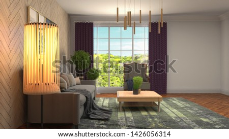 Interior of the living room. 3D illustration. #1426056314