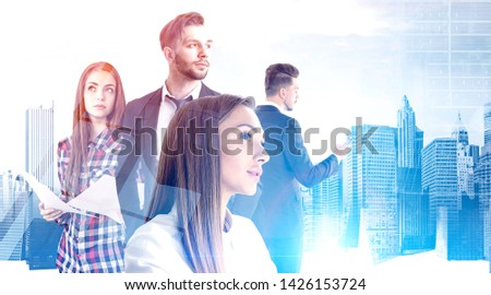 Pensive young business people working together with documents and gadgets over cityscape background. Concept of teamwork and communication. Toned image double exposure #1426153724