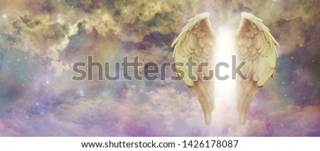 Guardian Angel Light Being Watching Over You - pair of golden Angel Wings with a bright light between against a colourful turbulent cloudscape with copy space  Royalty-Free Stock Photo #1426178087