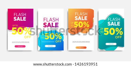 Sale banner template with Dynamic modern design fluid mobile. flash sale banners. special offer set #1426193951