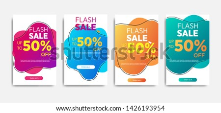 Sale banner template with Dynamic modern design fluid mobile. flash sale banners. special offer set #1426193954