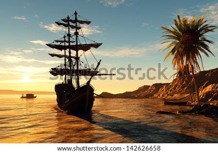Sailboat near the beach at sunset. #142626658