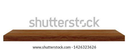 Perspective view of brown wood or wooden table top or shelf corner on white background including clipping path #1426323626