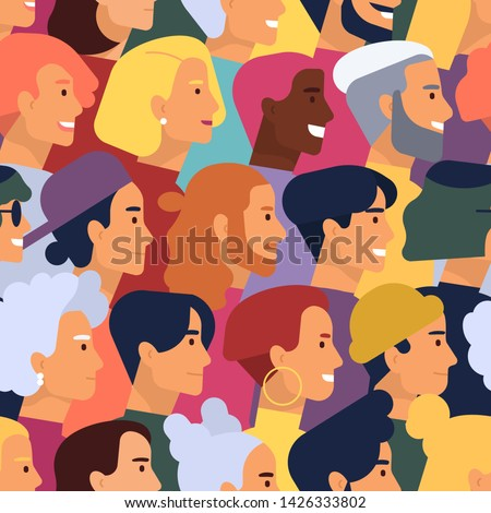 Seamless pattern with heads of cute smiling young and elderly men and women with various hairstyles. Backdrop with stylish people. Flat cartoon vector illustration for wallpaper, wrapping paper. #1426333802