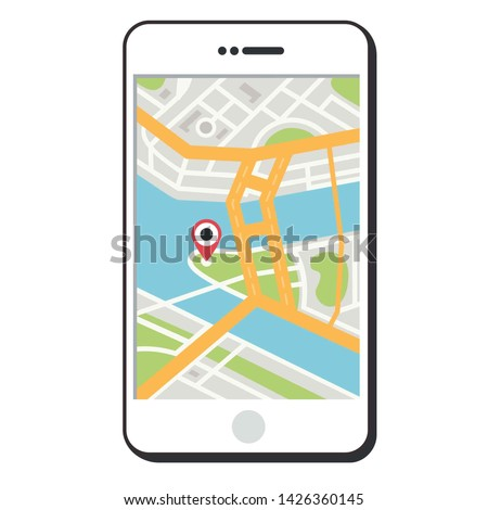 Vector icon GPS navigation phone with location point. On the screen of the smartphone  map of the city location. Phone GPS illustration in flat line minimalism style.