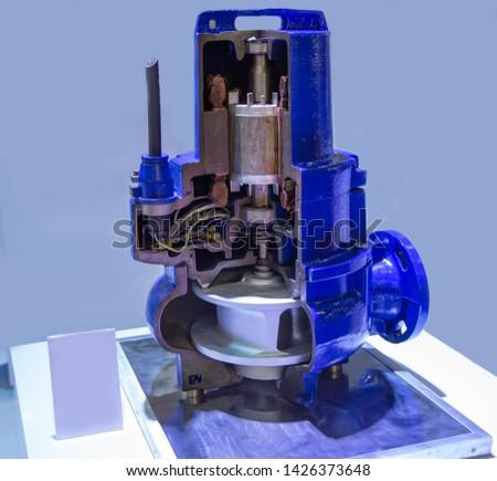Cut-away industry vertical submersible motor pump #1426373648