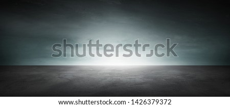 Black Infinite Background Concrete Floor Dark Landscape Blue Sky Horizon #1426379372