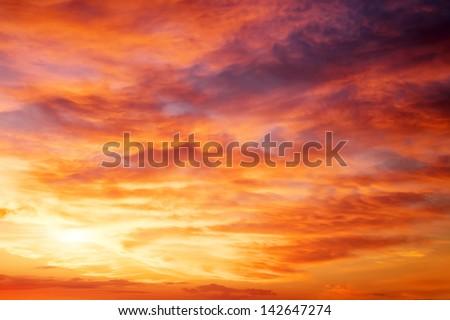 Fiery orange sunset sky. Beautiful sky. #142647274