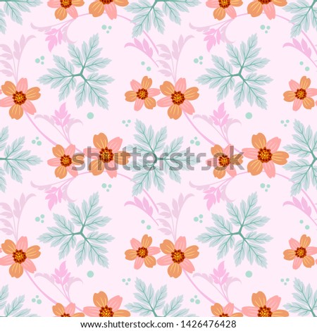 Seamless flowers vector for fashion prints, wrapping, textile, paper, wallpaper. #1426476428