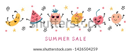 Summer Sale Banner with Cartoon Doodle Funny Cute Fruits and Berries. Vector Colorful Food  Set. Happy Kawaii Fruit icons Summer Collection #1426504259