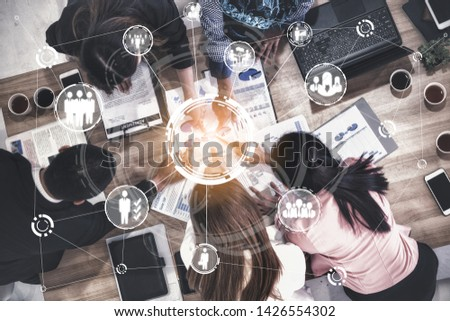Human Resources Recruitment and People Networking Concept. Modern graphic interface showing professional employee hiring and headhunter seeking interview candidate for future manpower. #1426554302