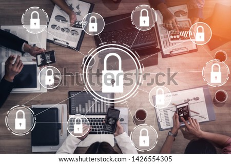 Cyber Security and Digital Data Protection Concept. Icon graphic interface showing secure firewall technology for online data access defense against hacker, virus and insecure information for privacy. #1426554305