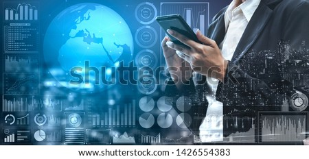 Data Analysis for Business and Finance Concept. Graphic interface showing future computer technology of profit analytic, online marketing research and information report for digital business strategy. #1426554383