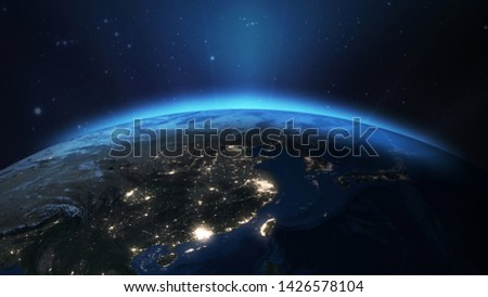 Earth Space View At East Asian From Space 3D illustration Elements of this image furnished by NASA #1426578104