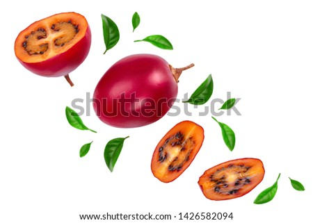 Fresh tamarillo fruit with leaves isolated on white background. Top view. Flat lay #1426582094