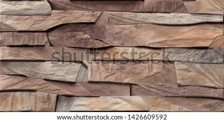 abstract home decorative elevation 3d wall tiles design rock background. #1426609592
