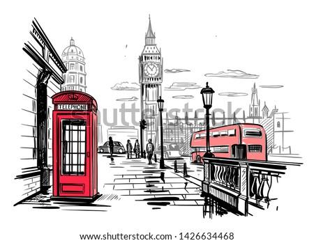 hand drawn landscape of London city Royalty-Free Stock Photo #1426634468