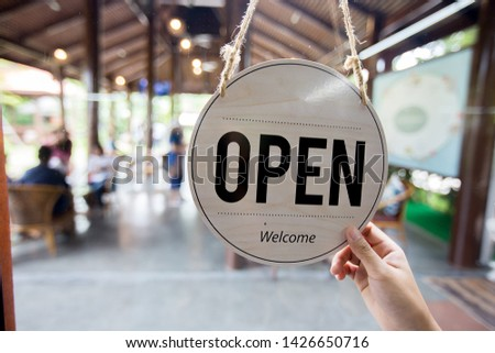 Open sign in coffee shop, Working in cafe. #1426650716