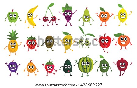 Cute cartoon fruits set in flat style isolated on white background. Kawaii emoji fruit icons. Vector illustration.    #1426689227