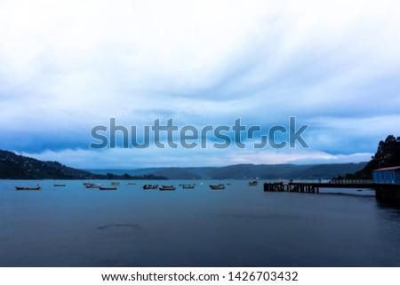 Fishing boats in Los Molinos, Chile  #1426703432