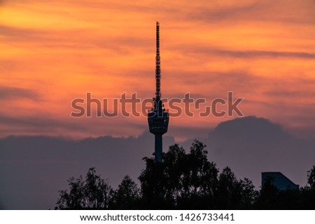 STUTTGART, GERMANY - 04 June 2019: The TV Tower of Stuttgart at sunset #1426733441
