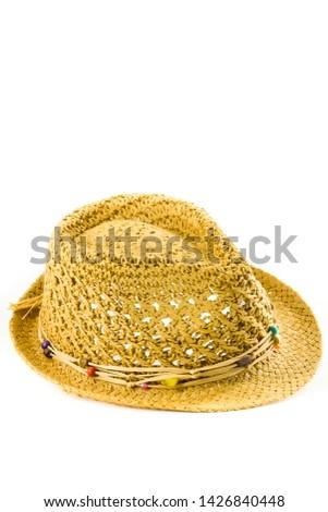Summer straw beach hat on white background #1426840448