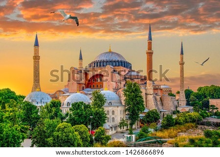 Sunny day architecture and Hagia Sophia Museum, in Eminonu, istanbul, Turkey  #1426866896