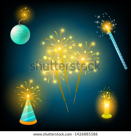 Realistic firecrackers collection. Vector set. #1426885586