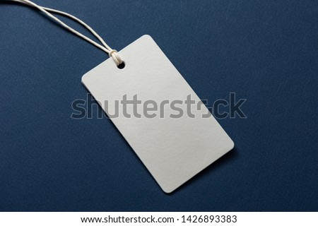 Blank tag tied with string. Price tag, gift tag, sale tag, address label isolated on blue background