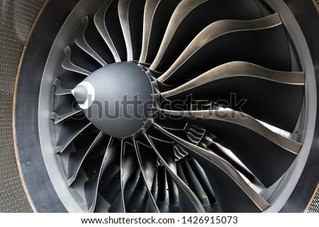 Airbus A320 NEO engine. Modern aircraft. CFM Leap-1A engine. Airplane engine. Aircraft engine blades. #1426915073