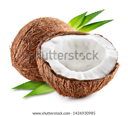 Coco. Coconut with half and leaves isolated on white background - Image #1426930985