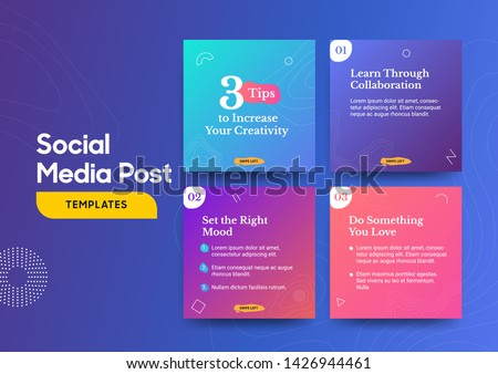 Social media post template with a cool topography design element and trendy gradient colors. Vol.1. Eps.10 #1426944461