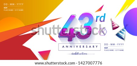 43rd years anniversary logo, vector design birthday celebration with colorful geometric background and circles shape. #1427007776