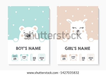 A set of children's posters, height, weight, date of birth. Bear, Lama. Vector illustration on mint and pink background. Illustration newborn metric for children bedroom. #1427035832