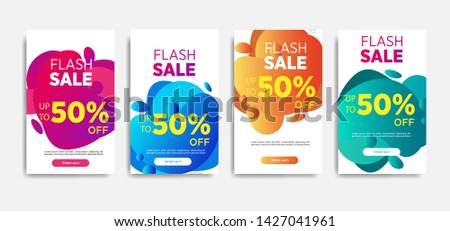 Sale banner template with Dynamic modern design fluid mobile for flash sale banners. special offer set #1427041961