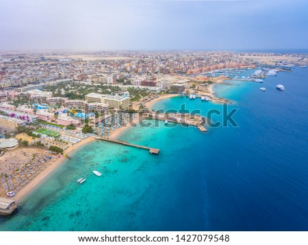 An aerial view on Hurghada town in Egypt #1427079548