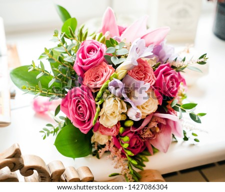 beauty wedding bouquet with roses #1427086304