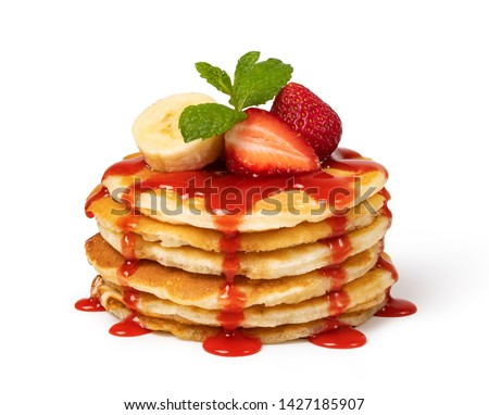 Pancakes with fresh strawberries and syrup Isolated on white background Royalty-Free Stock Photo #1427185907