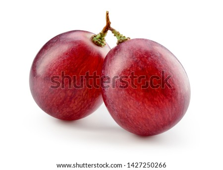 Red grape. Two grape berries isolated. Grapes on white. Macro. With clipping path. Full depth of field. #1427250266