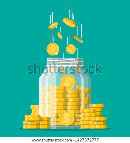 Glass money jar full of gold coins. Saving dollar coin in moneybox. Growth, income, savings, investment. Symbol of wealth. Business success. Flat style vector illustration. #1427372777