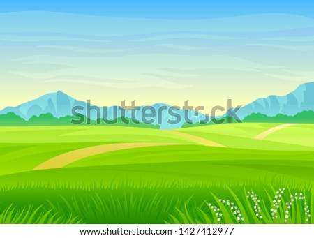 Footpath through a green meadow. Vector illustration on white background. #1427412977