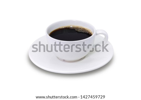 Closeup white ceramic cup of black coffee isolated on white background. Clipping path #1427459729