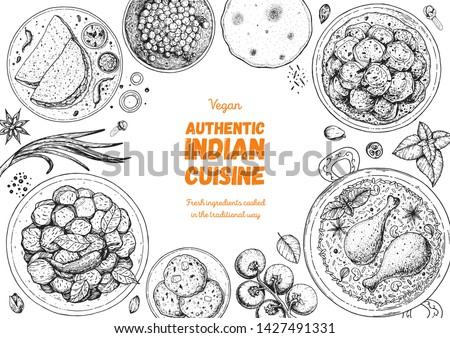 Indian food illustration. Hand drawn sketch. Indian cuisine. Doodle collection. Vector illustration. Menu background. Engraved style. Royalty-Free Stock Photo #1427491331