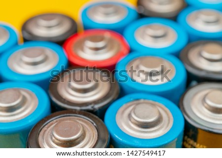 Used batteries. Waste collection and recycling. Environmental Protection. Batteries background. #1427549417