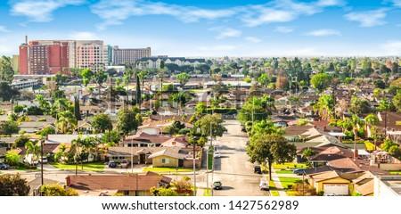 Panoramic view of a neighborhood in Anaheim, Orange County, California Royalty-Free Stock Photo #1427562989